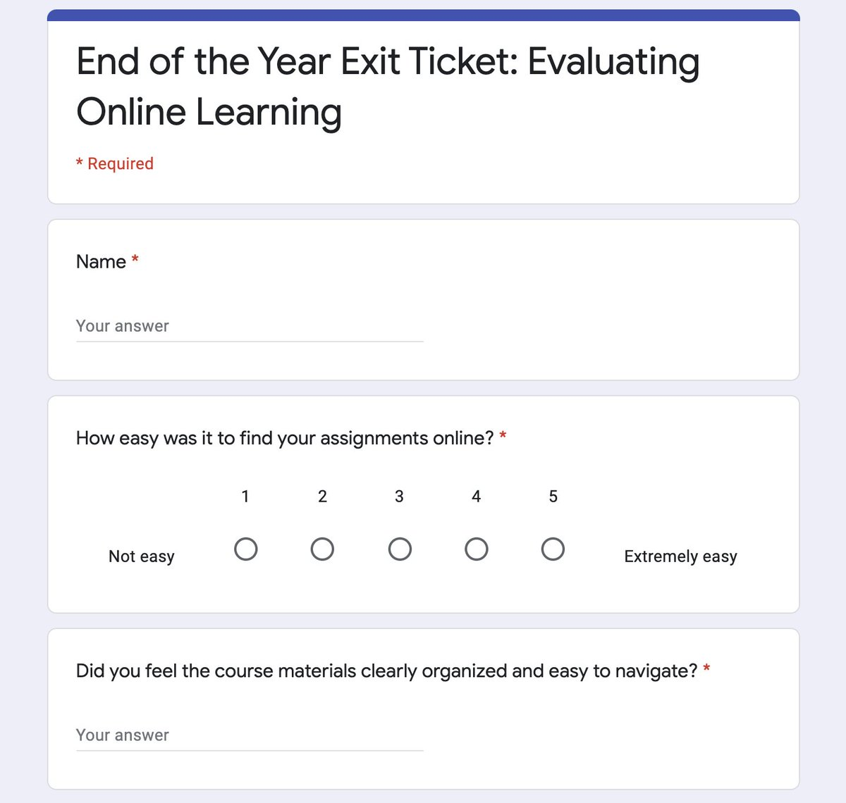 Collecting #feedback from #students is one of the best ways for #teachers to continue #learning & growing! Don't miss this chance to learn from your students. End of the Year Exit Ticket: Evaluating Online Learning catlintucker.com/2020/05/evalua… #edchat #CAedchat #CUEchat