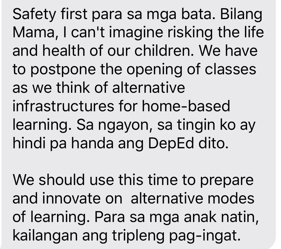 Sen @risahontiveros bats for the postponement of school opening in August, believing that DepEd is still unprepared to hold classes amid the continuous threat of #COVID19 | via @sherieanntorres