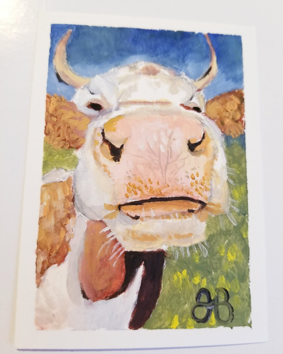 #aceo #oilpainting #minipainting #gallery #miniatureart #atc #cow #bovine