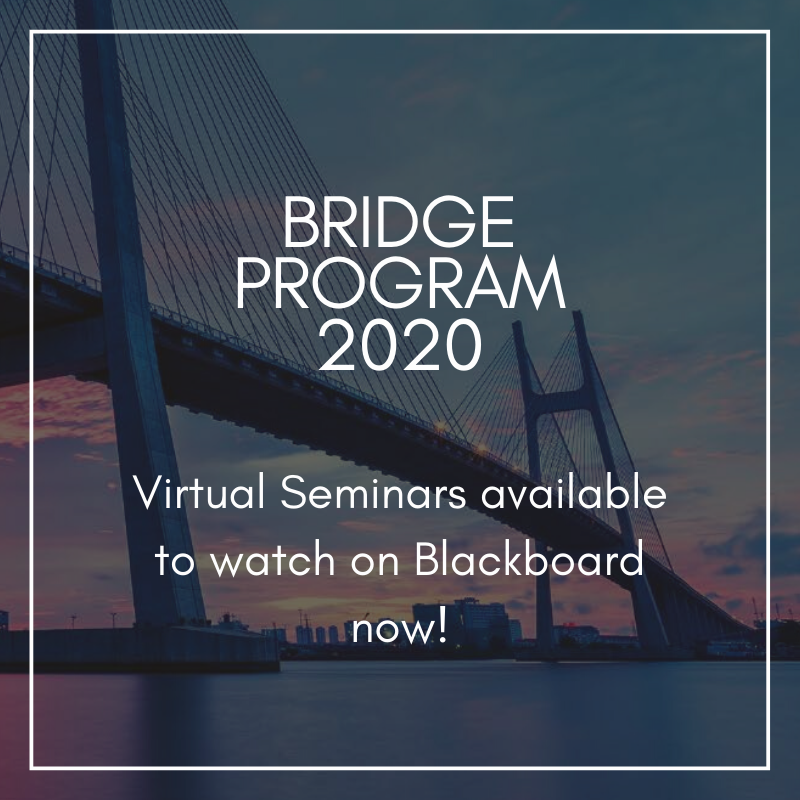 Our first four Virtual Seminars for the #2020BridgeProgram are now available to watch on Blackboard! Open to all participants and partners, go check out our exciting topics on #Commercialisation with many #biotech #Entrepreneur speakers! https://t.co/3cgHYTfrLP