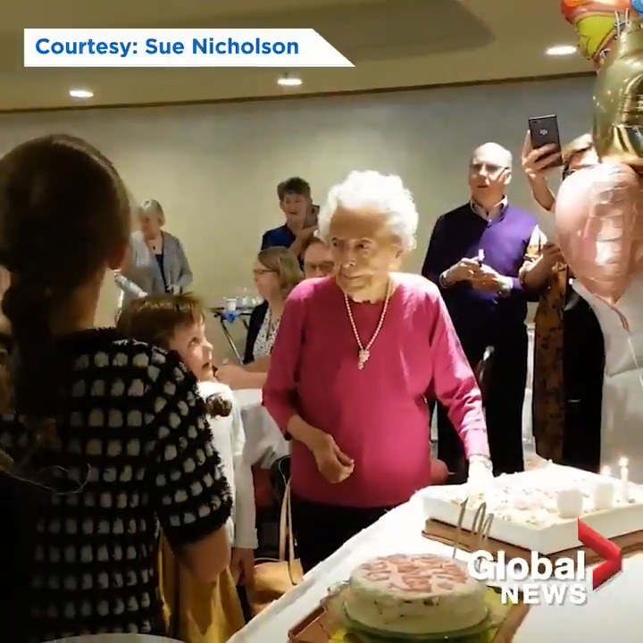 Myrtle Nicholson, who turned 100 earlier this year, dances cheerfully as her family sings to her before blowing out the candles on her birthday cake. She's known as Winnipeg's lucky lady. RELATED: trib.al/aDwhTqk