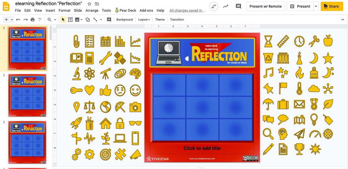 A3 not with students, but created this icon board for teachers to reflect their COVID-19 teaching experience. Inspired by the game of perfection! docs.google.com/presentation/d… #tlap #WeAreFiveStar #ControlAltAchieve @Five_StarTech