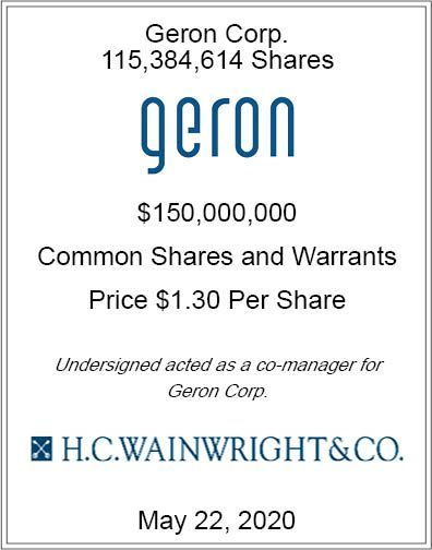 Our #investment banking team recently participated in an $150 million transaction for #Geron ($GERN). To view this and other #biotech transactions click here: https://t.co/aC7spa5F4S https://t.co/eMQD7HrtDL