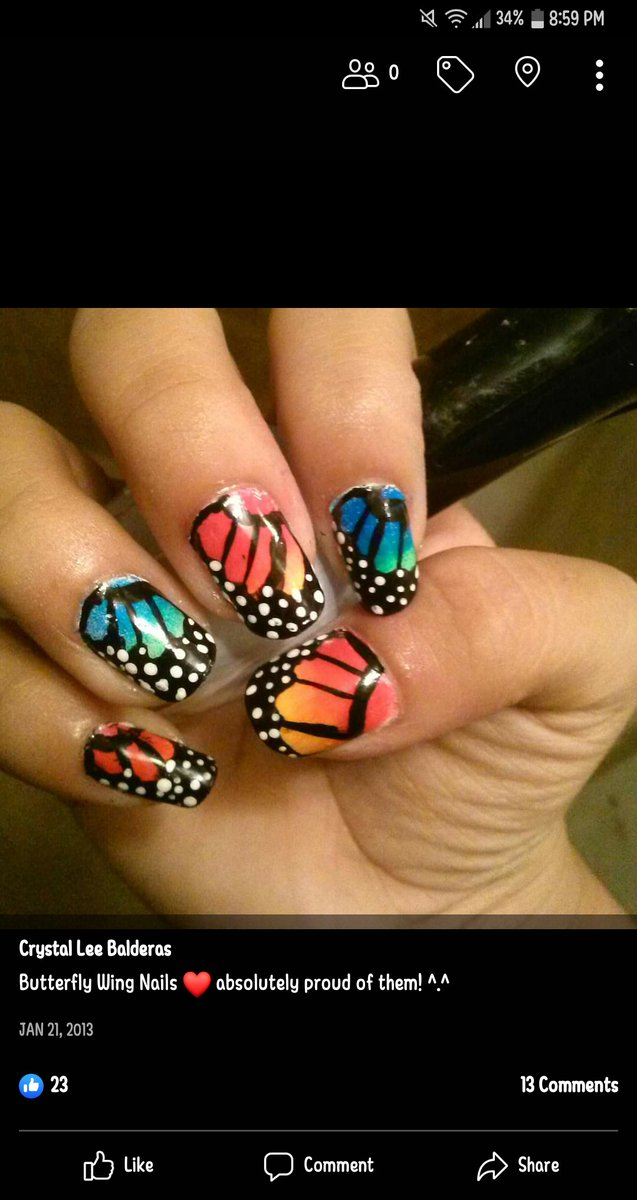 Back when the butterfly nail art trend started and long before there was @holotaco   also peep the early peely keeping  @nailogical #nailart #butterfly #nailpolishpic.twitter.com/2njwm4BApl