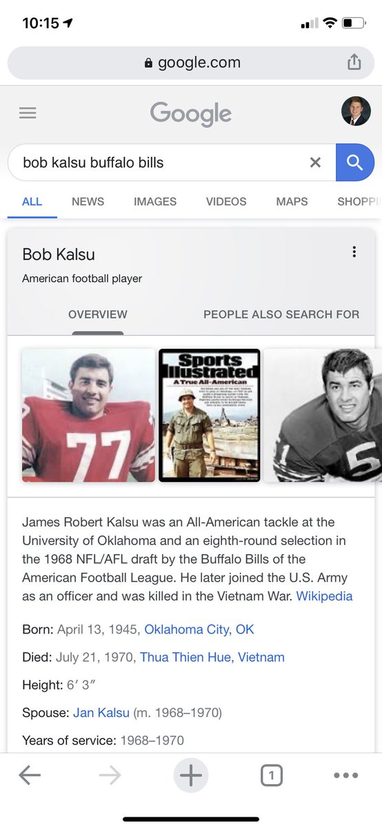 Bob Kalsu for the Buffalo #Bills was KIA in Vietnam in 1970. Heroes pic.twitter.com/FpWImbBzWg