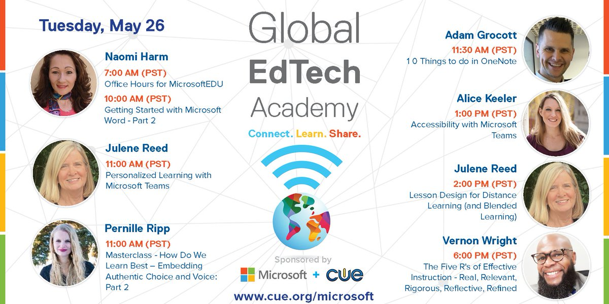 Dont miss the dynamic group of educators lined up for tomorrows FREE Global EdTech Academy (#GETA) sessions! @naomiharm @julener @pernilleripp @AdGrocott @alicekeeler @thewrightleader ->cue.org/microsoft<- #MicrosoftEDU #WeAreCUE #Globaled #remoteteaching #edchat #edtech
