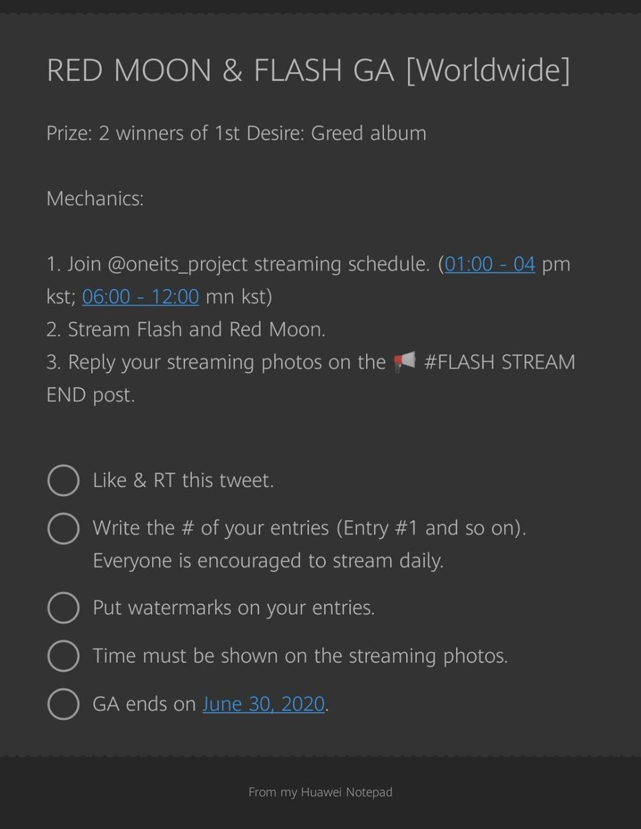 FLASH & RED MOON GA [WORLDWIDE]  Prize: 2 winners of 1st Desire: Greed album  1. Join @oneits_project streaming schedule. (01:00pm - 04:00pm kst; 06:00pm- 12:00 mn kst) 2. Stream Flash & Red Moon.  3. Reply your streaming photos on the  #FLASH STREAM END post. pic.twitter.com/TUijEWZmld