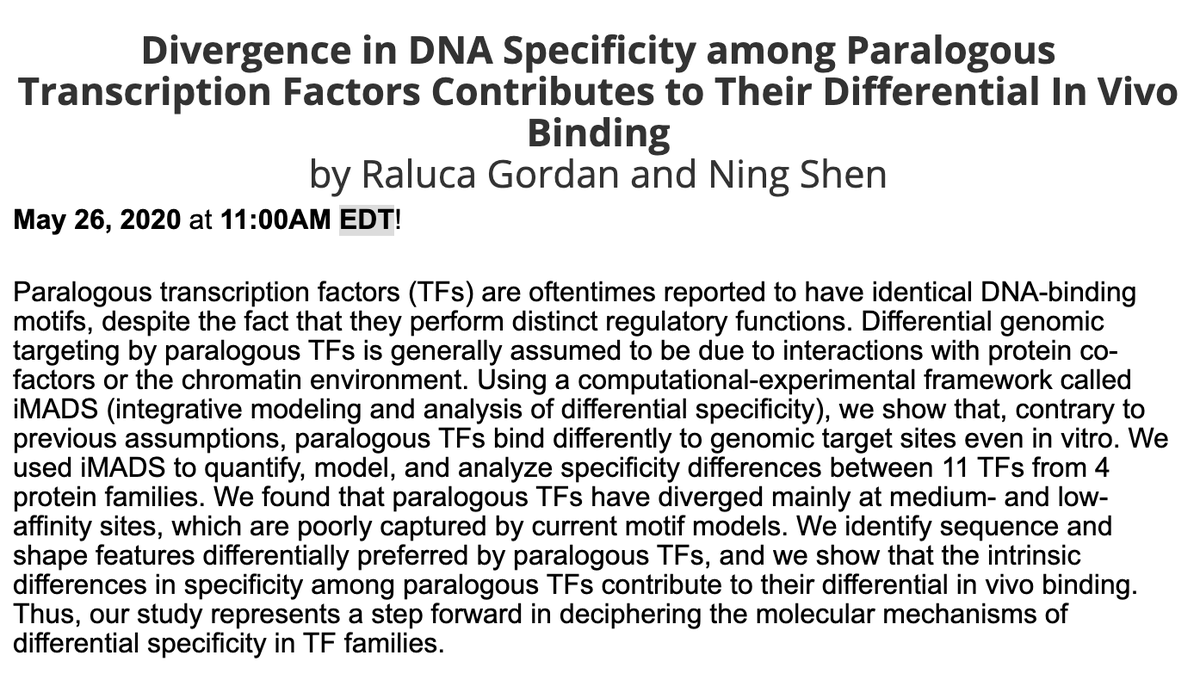 "Here is the video of the talk by Raluca Gordan (@RalucaGordan) and Ning Shen, ""Divergence in DNA specificity among paralogous transcription factors contributes to their differential in vivo binding"" https://t.co/0fEAEkvZUH. Webinar hosted by @iscb @ISCB_RegSys. #TFbinding"