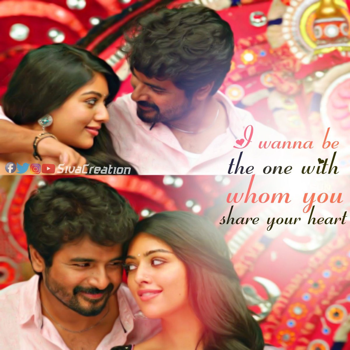 I wanna be the one with whom you share your heart   #SKLoveQuotes #LoveQuotes #Quotes #Sivakarthikeyan #NVPpic.twitter.com/XXxX6nAoGW