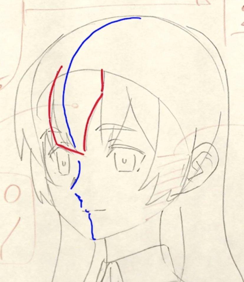 顔の立体感は前髪がポイント!! 前髪を左右非対称にしてオデコの盛り上がりを表現できる。 左右対称の形は立体感がなくなる。
