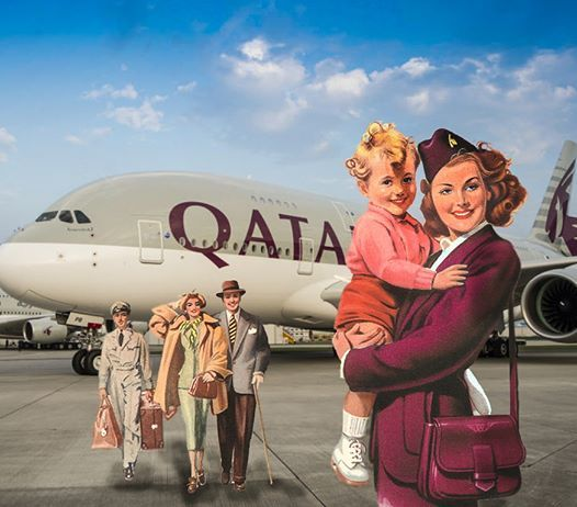 Past and present in one frame. #QatarAirways #FlightAttendantDream #CabinCrew (Photo credits: retroqa.jpg - Instagram)pic.twitter.com/5PvvZRnaLY