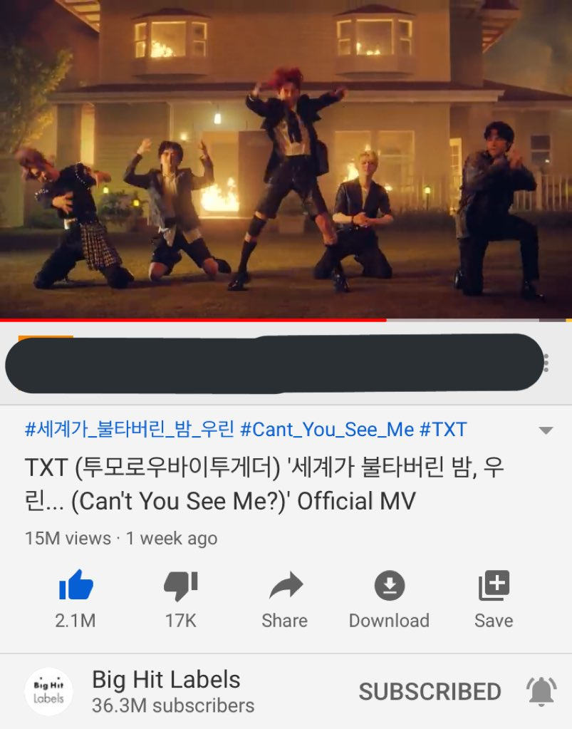 CONGRATULATIONS #MOA AND #TXT CAN'T YOU SEE ME HAS REACHED 15M VIEWS! Keep going Moa we have to work hard for txt!! @TXT_members 💙😭✨💜 #TOMORROW_X_TOGETHER