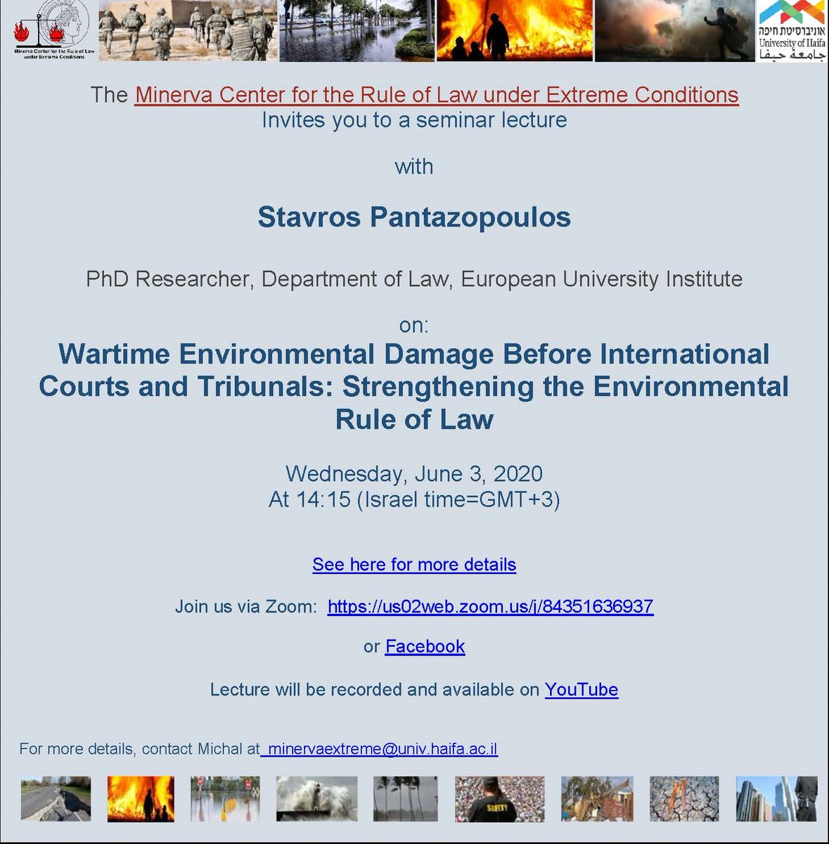 Our legal analyst @StavrosPantazo1 will be discussing the protection of the #environment in relation to armed conflicts during this @Minerva_RLEC webinar on June 3rd, tune in details below. #PERAC #intlaw