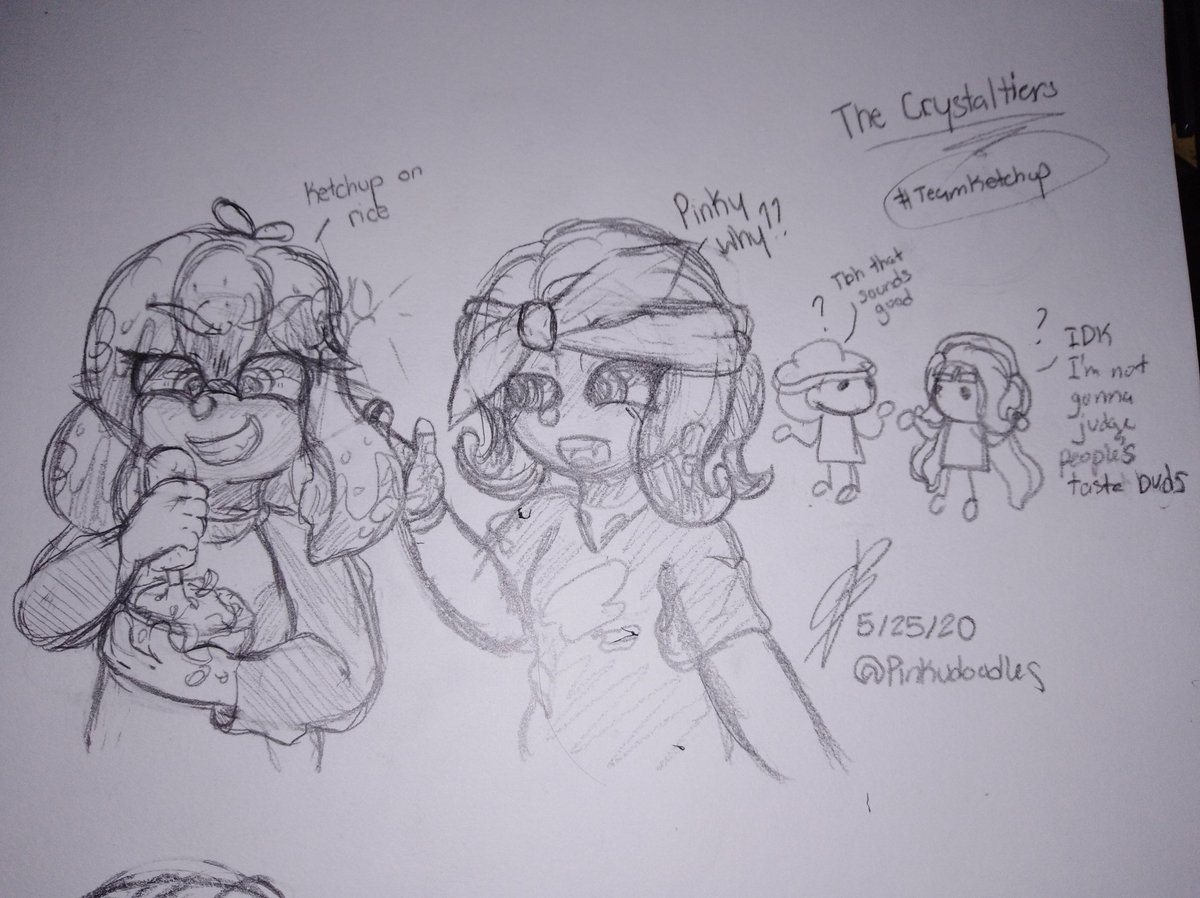 Been a while since I've done traditional art so I drew a doodle of my team during the Splatfest. We were on team Ketchup :D #TheCrystaltiers #Splatfest2020 #MayoVSKetchup #Splatoon2