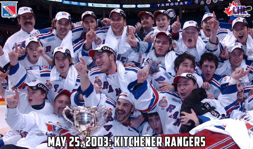 May 25 in #MemorialCup history 🏆  The 2003 @OHLRangers beat Hull in the final to cap a 4-0 record in Quebec with coach Peter DeBoer, MVP Derek Roy, and fellow Tournament All-Stars Mike Richards, Greg Campbell, Steve Eminger, and Scott Dickie.  MORE 📰: https://t.co/4SrfZRhErn https://t.co/tK72FrWCui