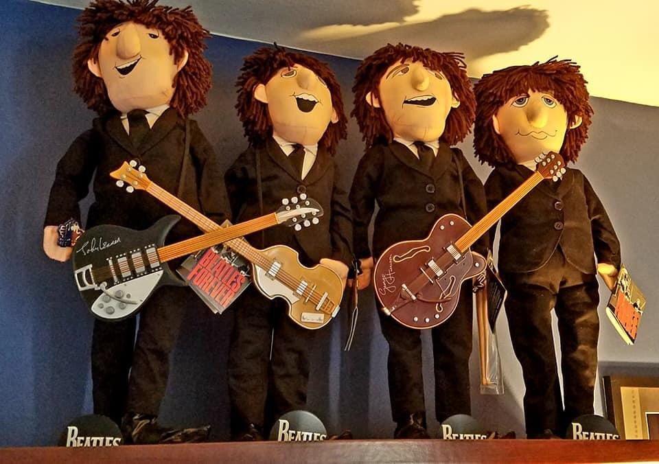 The Beatles Mop Top Dolls! Lol 😂👍🎶  #beatles #thebeatles #beatlez #band #group #dolls #funny #mini #moptops #guitar #bass #drumsticks #thesixties #hilarious #lol #suits #fab #fabfour #beatlesforever #instagood #instafunny #repost