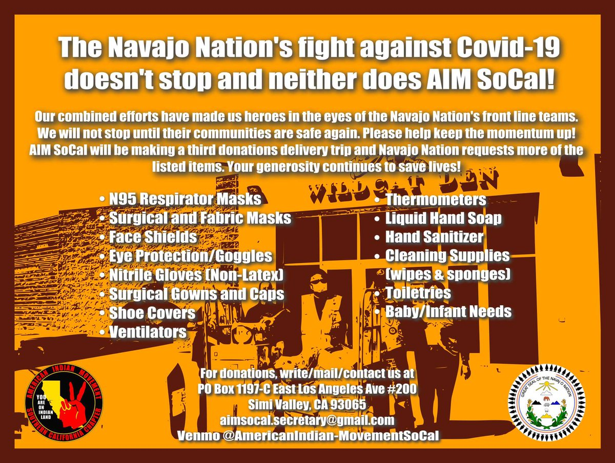 Getting ready for our third donation delivery to Navajo Nation! If you want to donate you can Venmo @AmericanIndian-MovementSoCal. If you want to drop off donations or have any inquiries please email aimsocal.secretary@gmail.com pic.twitter.com/SYyTcPu98D