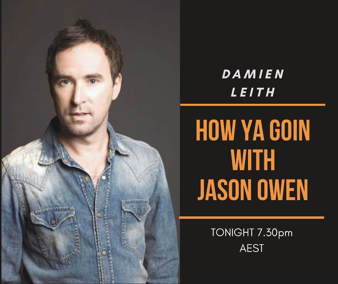 Tonight 7.30pm im joined by @DamienLeith 🎶🎸 https://t.co/VidvYoOByT
