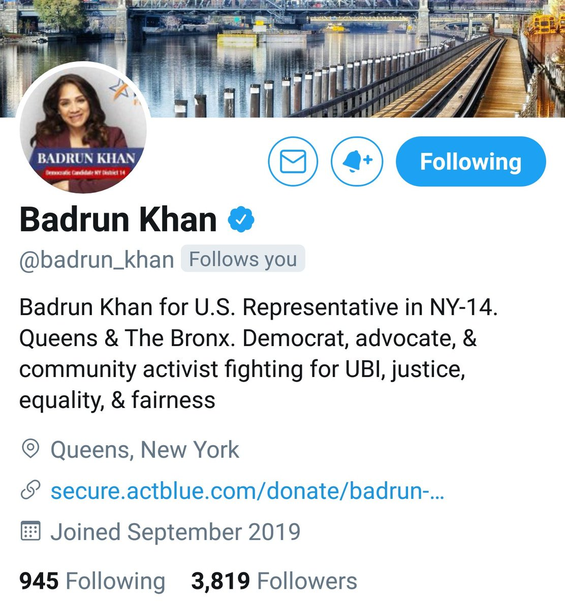 #YangGang here is another UBI YangGang candidate for Congress! Let's give @badrun_khan some support!  Donate here: