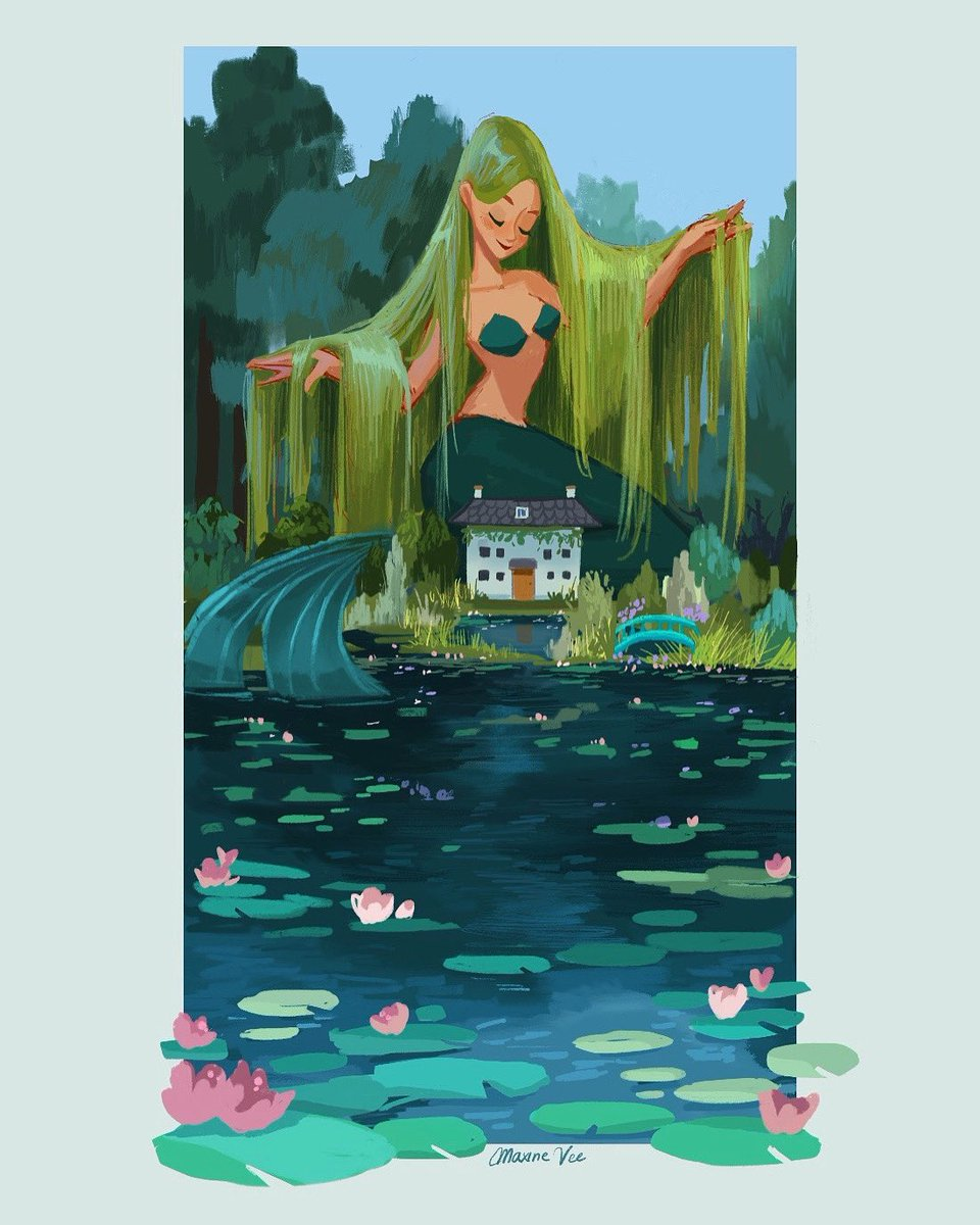 Mermay Day 26 - Monet's Garden   #mermay #mermay2020 #painting #illustration #art pic.twitter.com/SYco9nclJc