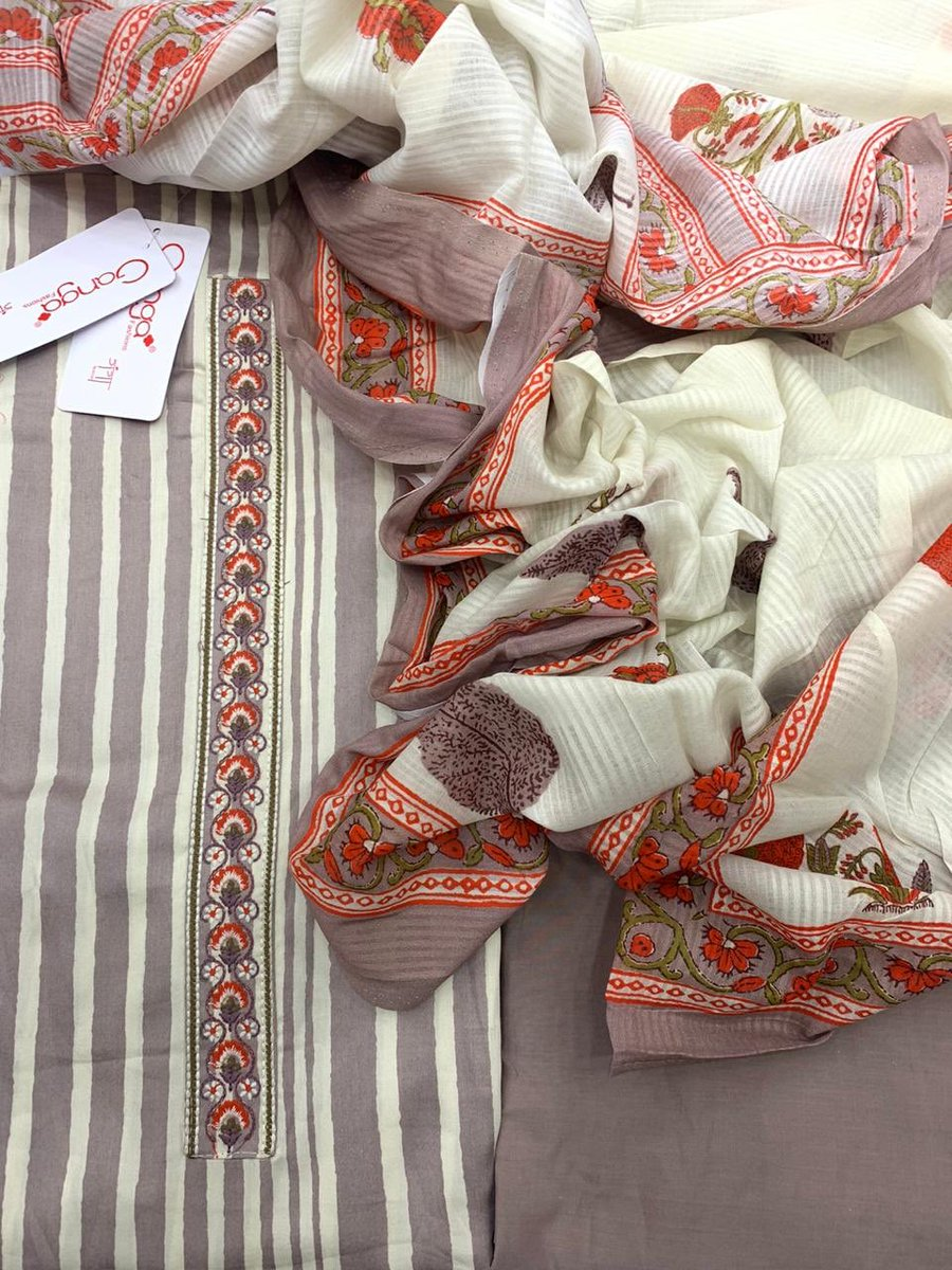💠💠💠 *Brand Ganga*  Beautiful pure and fine cotton striped shirt with embroidery on neck and ghera Cotton bottom Cotton mul block printed dupatta  2500+ 🚢 #massachusetts #photography #love #usa #photooftheday #fashion #art #summer #city #beautiful #fitnes #model #style #beauty https://t.co/OIivf3ieGS