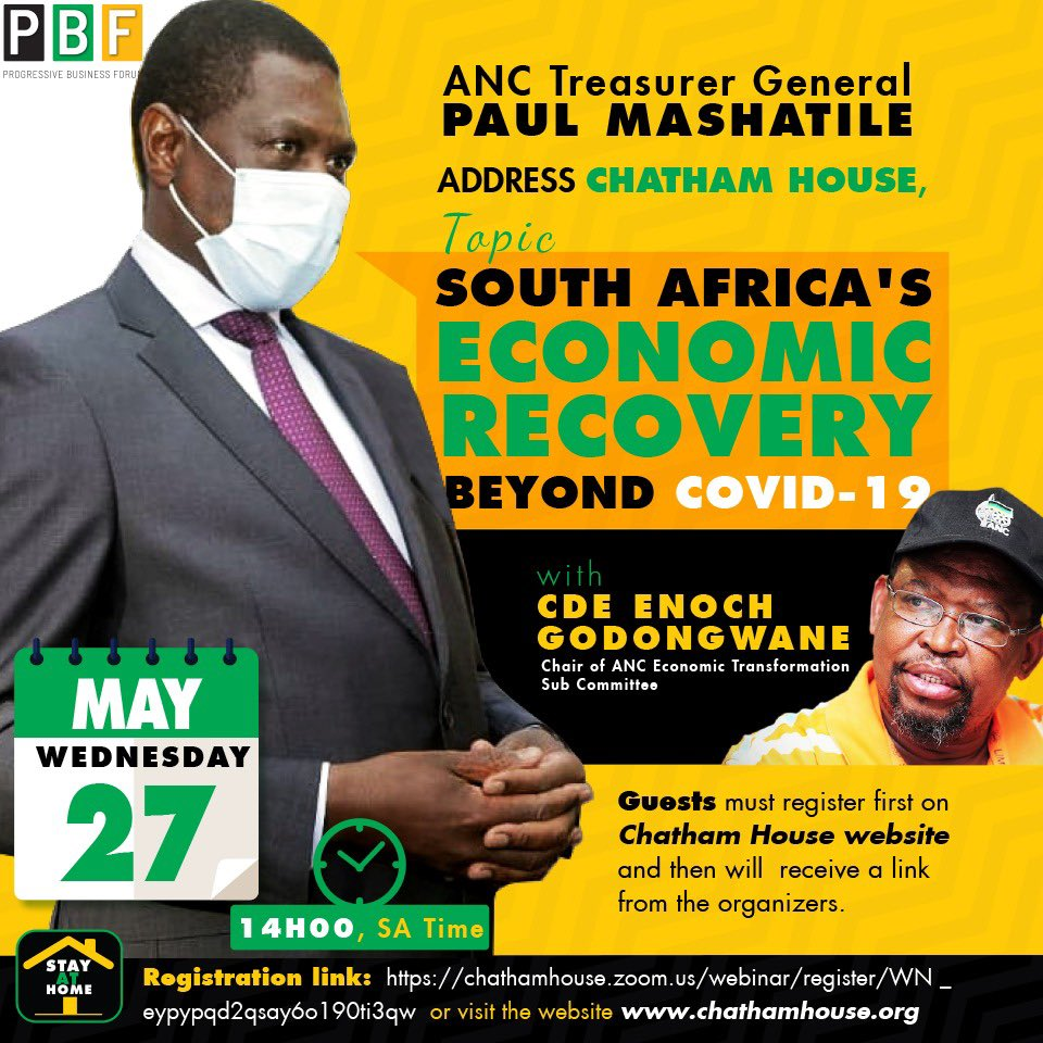 @MYANC Treasurer General Cde Paul Mashatile will address Chatham House on SA's economic recovery beyond #Covid_19 registration link https://t.co/WNgGjFbYky or visit the website https://t.co/JEwbv5T2Jf go to events and all events scroll down to the registration  link and follow it https://t.co/LYXGb058wp