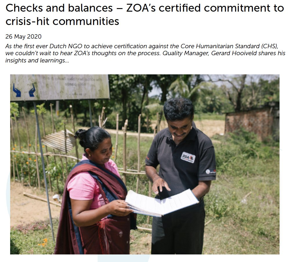 Checks and balances – ZOA's certified commitment to crisis-hit communities.  The first Dutch #NGO to get certified against the CHS!  Read here their insights on the certification journey and read about major learnings and changes from the audit process: https://media-exp1.licdn.com/dms/document/C561FAQFkOn4vDOY47Q/feedshare-document-pdf-analyzed/0?e=1590577200&v=beta&t=bidSPKyq8jXVis22RZiFNNL4ImnZHuOWRKfkOZsj43I …pic.twitter.com/uYKBlQszuN