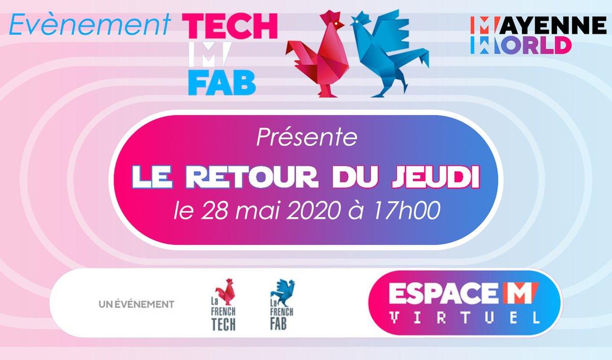 Parce que l'équilibre #Tech & #Fab existe, nous lançons un événement hebdomadaire dans le #MayenneWorld destiné à la création de synergies et d'opportunités entre nos réseaux. Venez profiter de ce moment convivial que nous vous proposons de 17h à 18h #LeRetourDuJeudi