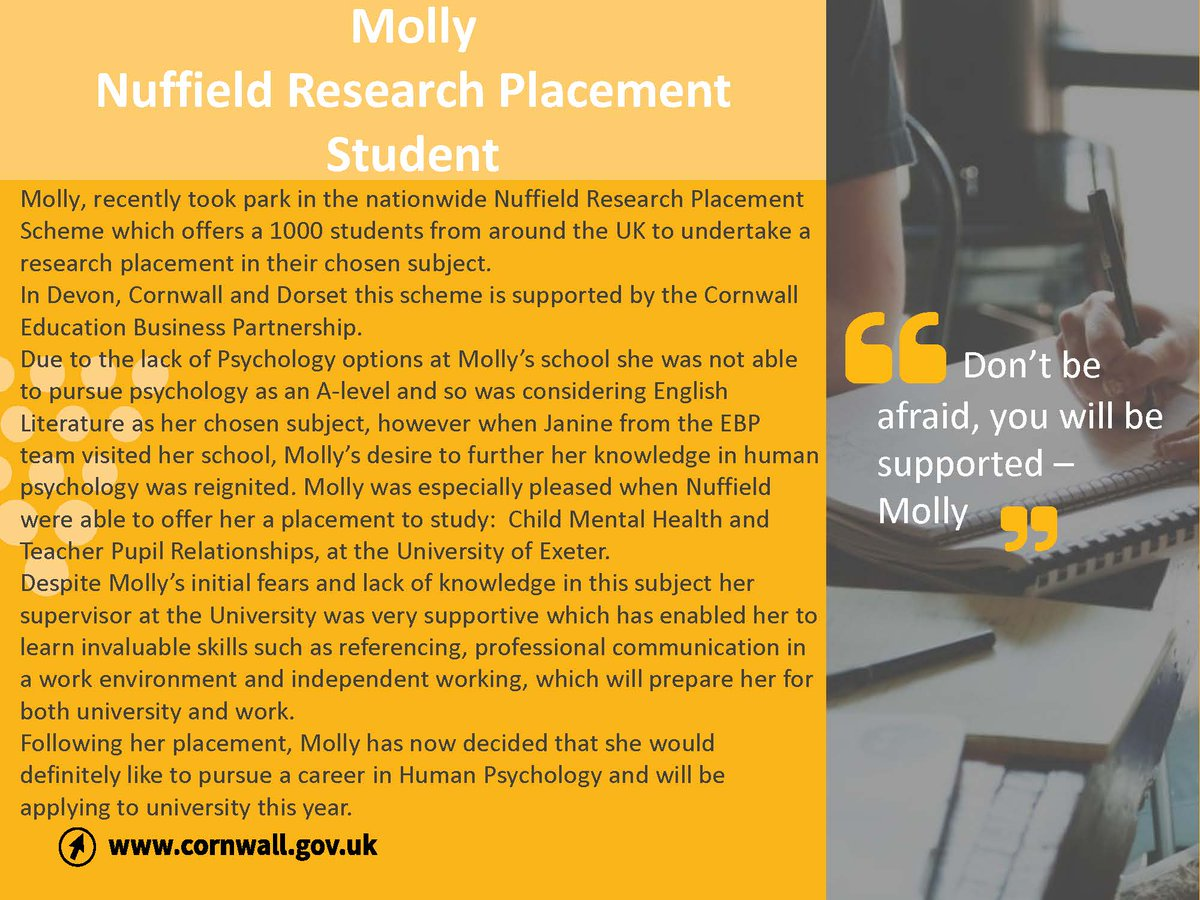 Could you reignite a students passion for STEM by Supporting a Nuffield Future Researcher?   To find out more or to get involved email us: NuffieldSouthWest@cornwall.gov.uk   @NuffieldFound   #nuffieldsummer #Careers #Research #STEM #TheFutureisBright #makeadifference https://t.co/DL6vhv0ak2