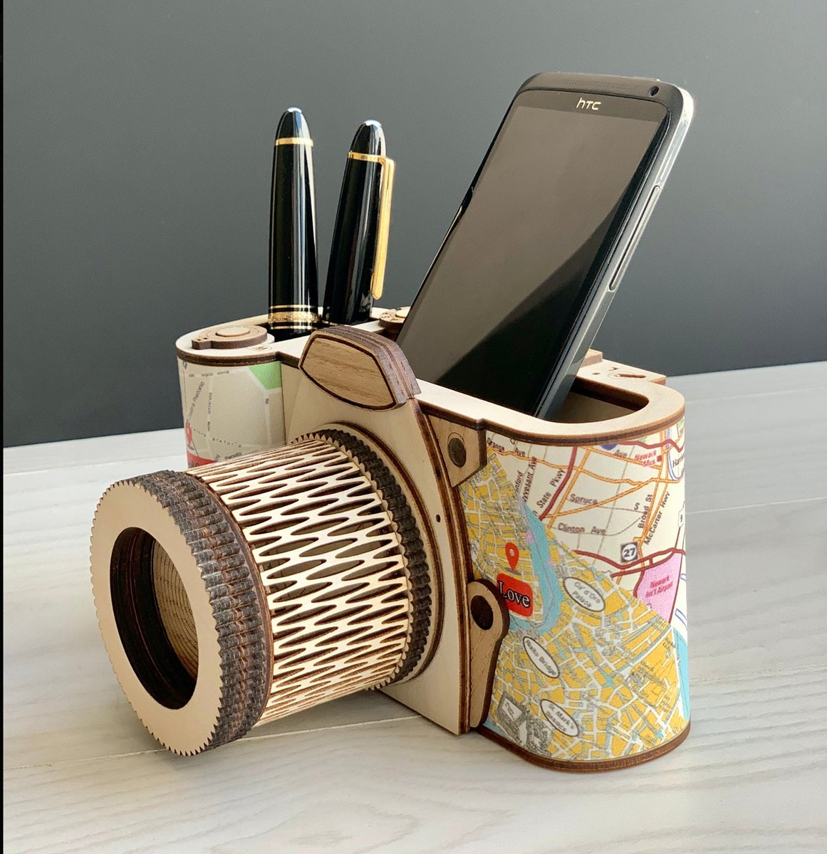 Excited to share the latest addition to my #etsy shop: Love Story Gift/MakeUp organizer/Wooden Photo camera with engraving/ Phone holder/ Desk organizer for stationery and phone/Wooden holder  #beige #blue #lovestorygift #makeuporganizer #lovesto