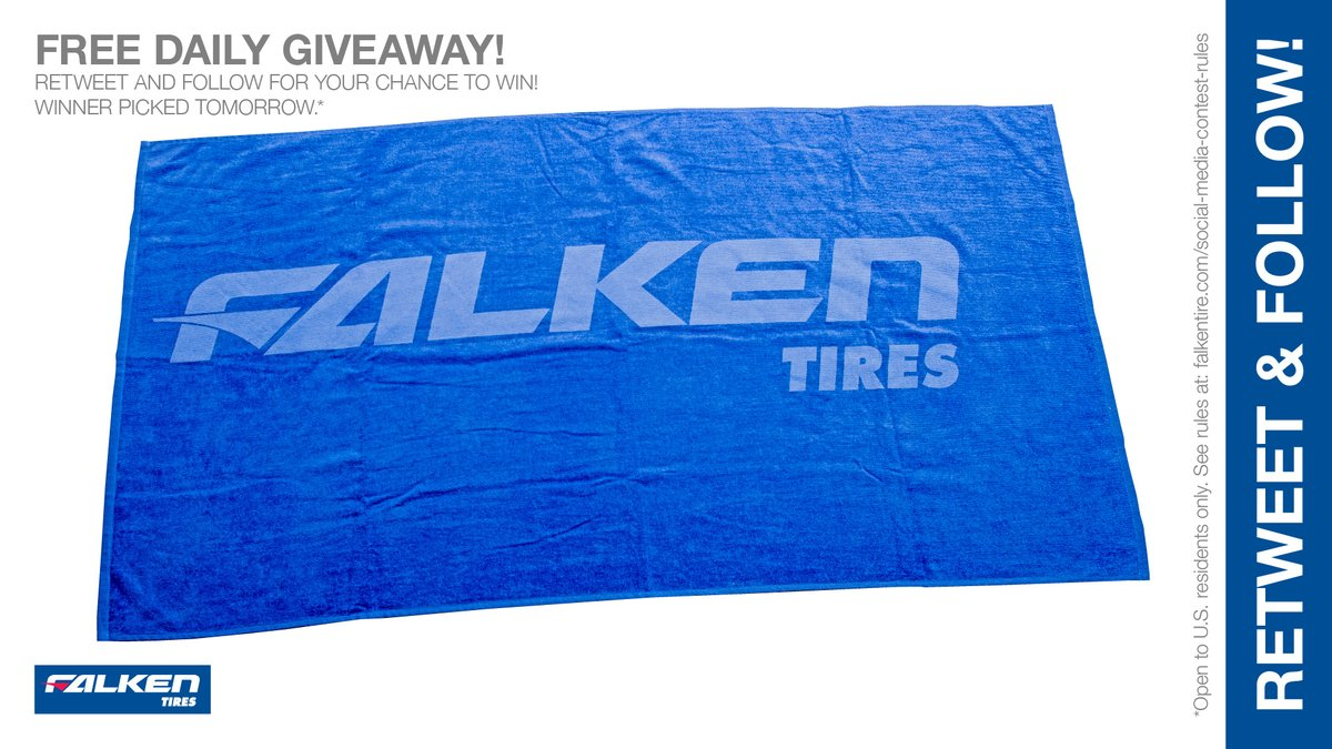 #Win a cool #Free #Falken #beach / #pool towel. RT & follow #FalkenTire to enter for this #contest or other #swag! #giveaway #prize Rules: http://bit.ly/2grA0A4 pic.twitter.com/FFJdSDLddl