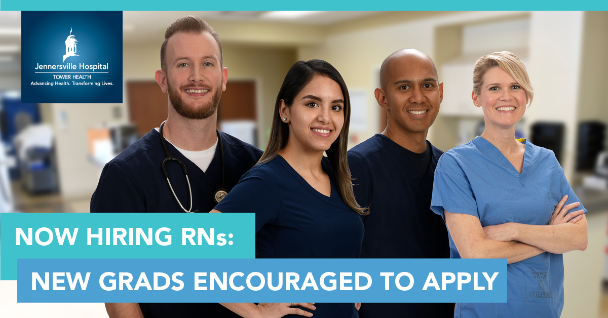 Recent RN Grads: Jennersville Hospital - Tower Health is #NowHiring for full-time nursing roles! Join our team of #HealthcareHeroes in a variety of departments, including the ED and Telemetry Med/Surg. Learn more: http://bit.ly/CMA_JTH  keyword: RN at Jennersville Hospital.pic.twitter.com/ZSANiZ0Mil