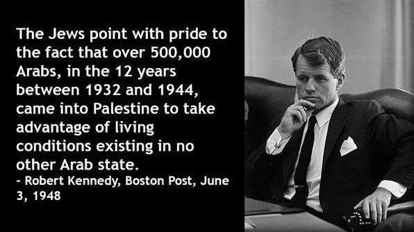 Did you know? Arab immigration to the land of #Israel actually increased pre-1948 as a result of the economic advancement from previous Jewish immigration.  This benefited both Arabs and Jews in the region, as noted by Robert F. Kennedy back in 1948. pic.twitter.com/zXzJW3pXaM