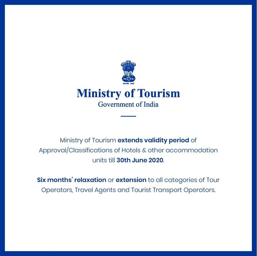 Ministry of Tourism extends validity period of Approval of Hotels.  #Hotels #MinistryofTourism #TourOperators #TouristTransportOperators #TravelAgents https://travelobiz.com/ministry-of-tourism-extends-validity-period-of-approval-of-hotels/…pic.twitter.com/vohwAP60Td