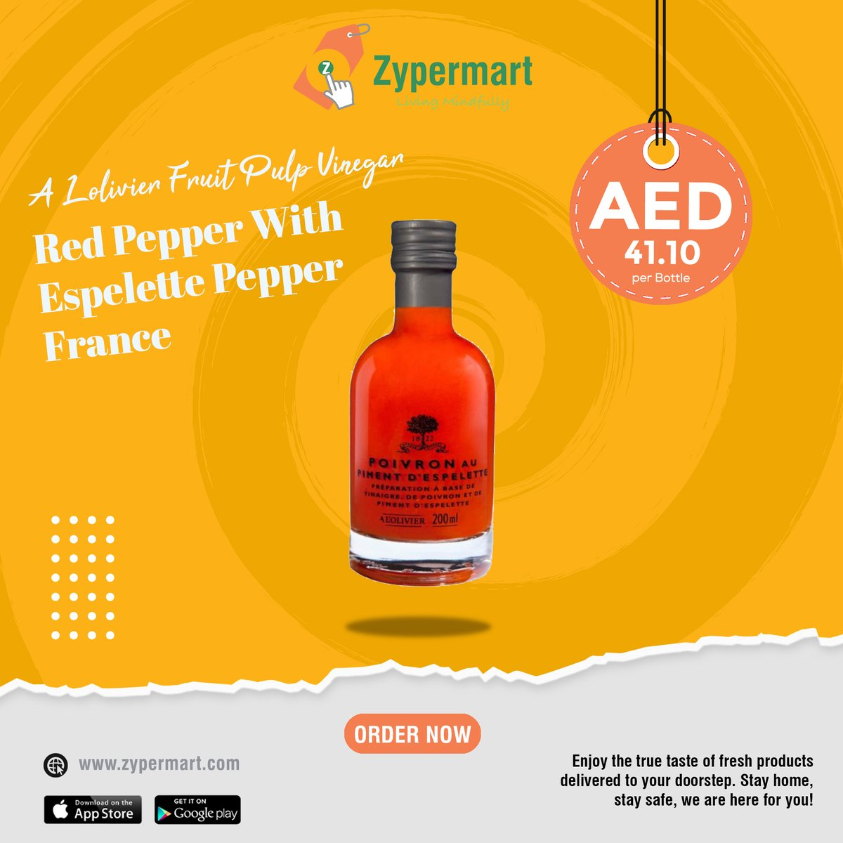 The finest vinegar with red pepper from France can only be found at  #fruits #vegetables #meat #chicken #seafood #nuts #dryfruits #grocery #gourmet #organic #dairy #fresh #onlinemarket #market #groceries #grocery #onlinegrocery #oliveoil #beef #organicfood