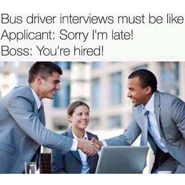 Bus driver interviews #meme #humor #lmfaopic.twitter.com/9A0DktwxNr