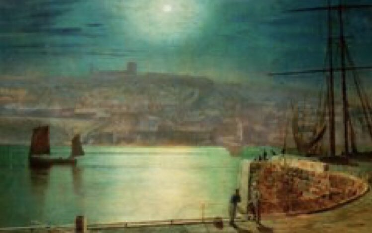 #Dracula was published on 26 May 1897. #Whitby is where author #BramStoker went on holiday & found his inspiration. Part of his novel is set there. Views of Whitby Harbour in the late C19th by John Atkinson Grimshaw. #WorldDraculaDay2020 #Victorian #Gothic #ArtLovers #art #artepic.twitter.com/CslbriFL4A