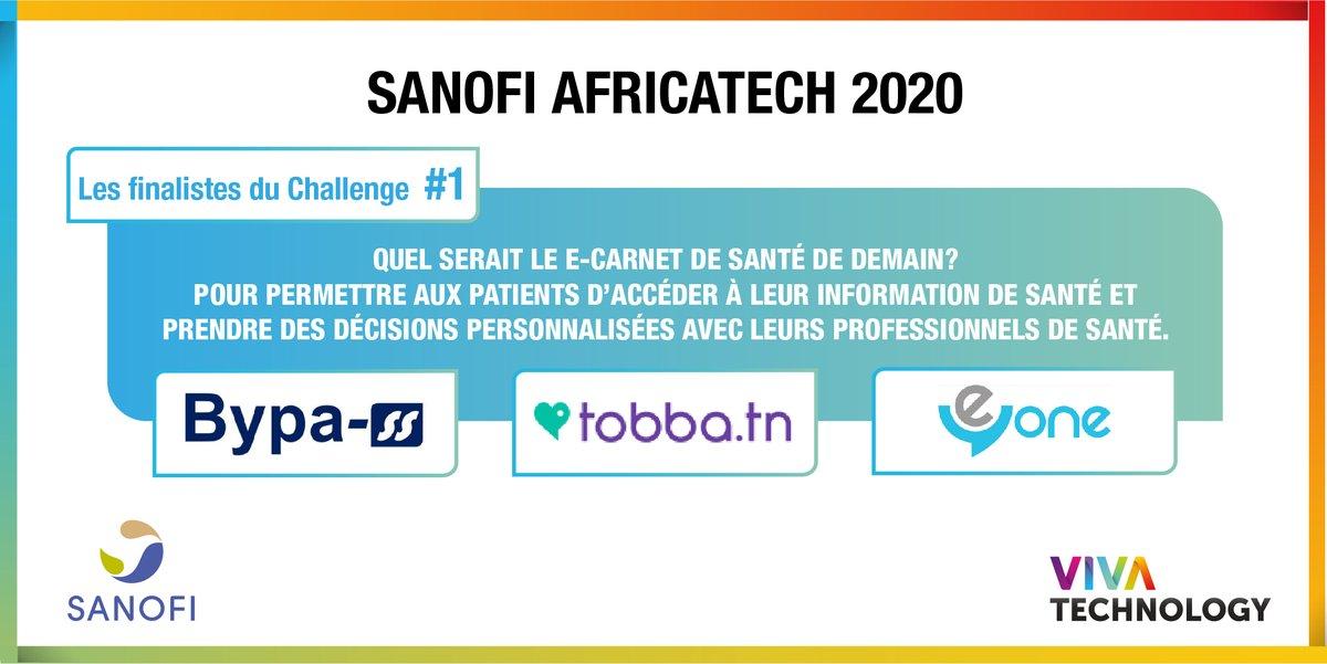 #Vivatech   🚀 Challenge Sanofi #AfricaTech 1️⃣ : quel e-carnet de santé pour demain ? #HealthInAfrica #innovation #esanté Voici les 3 finalistes sélectionnés 👏. RDV le 11 juin pour connaître le gagnant ! A suivre en direct ici : surl.sanofi.com/2y7