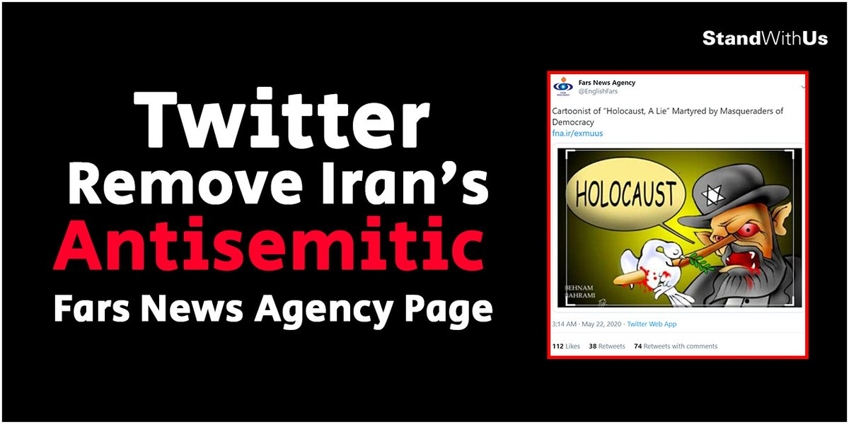 The Fars News Agencys English Twitter account spews antisemitic cartoons & posts, which blatantly deny the #Holocaust, conspiracy theories & demonize Jews. Stop this vicious #antisemitism. Help StandWithUs remove this account. Sign the petition here: standwithusaction.com/petition/fars/