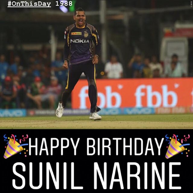 #OnThisDay 1988, A Mystery spinner turned Pinch Hitter & then an All-Rounder - Sunil Narine was born  * MVP - IPL 2012, 2018 * 2nd Best Batting SR in IPL - 168.34 * 2nd Fastest 50 in IPL - 15 Balls v RCB '17 * 122 IPL Wkts  #HappyBirthdaySunilNarine #SunilNarine #ThisDayThatYear<br>http://pic.twitter.com/dhGbxQYNrj