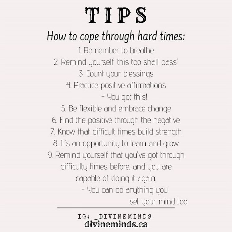 How to Cope Through Hard Times...  http://www.psicok.es  #MentalHealth #Psychology #Psychotherapy #Anxiety #Depression #ACT #DBT #PAF #ActivaciónConductual #Psicología #Ansiedad #Depresión #TerapiaDeAceptaciónYCompromiso  #TerapiasContextuales #YoMeQuedoEnCasapic.twitter.com/KKIy7kQ7BP