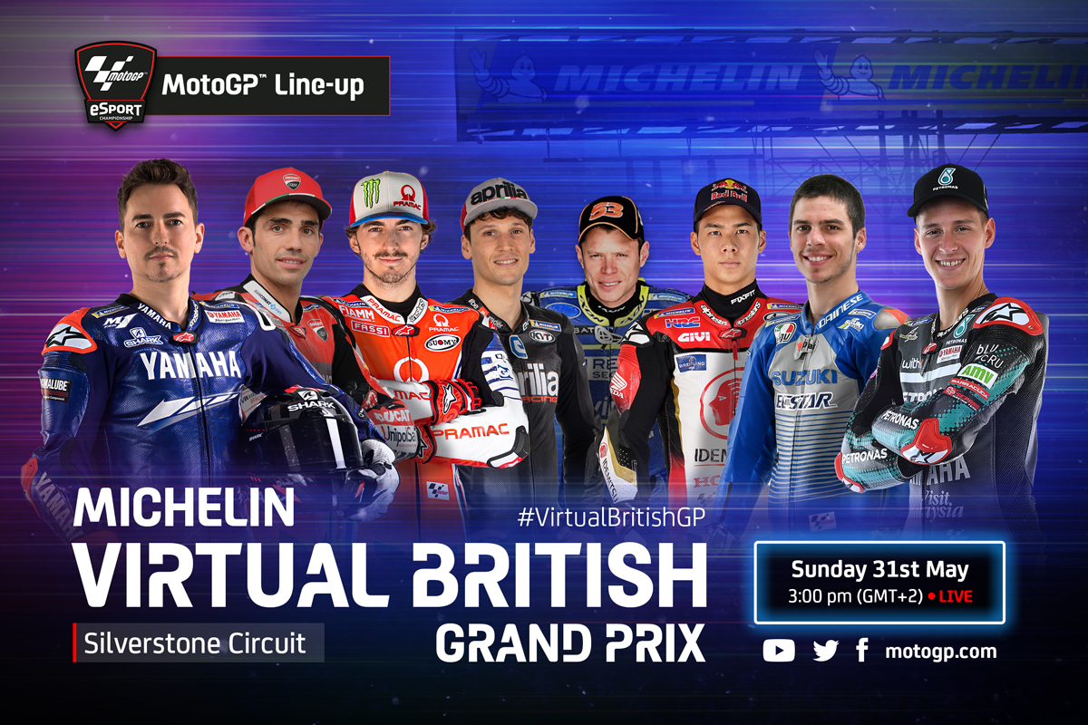 The @MotoGP #VirtualBritishGP is coming to Silverstone this weekend 🙌 🇬🇧  Get ready as MotoGP™, Moto2™ and Moto3™ classes gear up to take on the Michelin® Virtual British Grand Prix. 💪  ⏰Sunday 31st May @ 15:00 (GMT +2)  https://t.co/JSfUAN3wQV https://t.co/QumNnICgEY