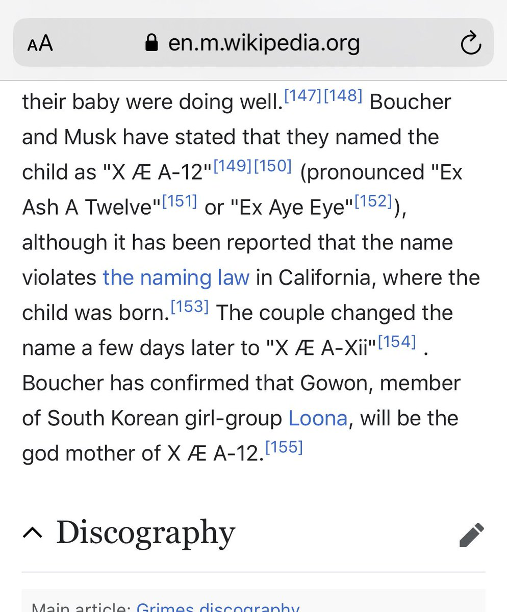 Acknowledgment of LOONA's Gowon being the godmother of Grimes and Elon Musk's child is now on Grimes' official Wikipedia page.   The impact.  #LOONA #이달의소녀 #Gowon #고원 <br>http://pic.twitter.com/ruPOlbm5qa