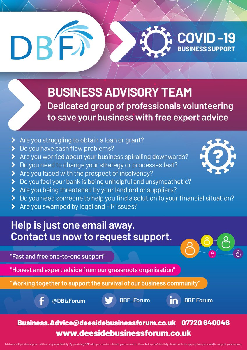 Do you need to change your strategy or processes fast? The #DBFBusinessAdvisoryTeam is here to guide you. Contact us today to access the support you need. See our website for further details: deesidebusinessforum.co.uk/covid-19-busin…