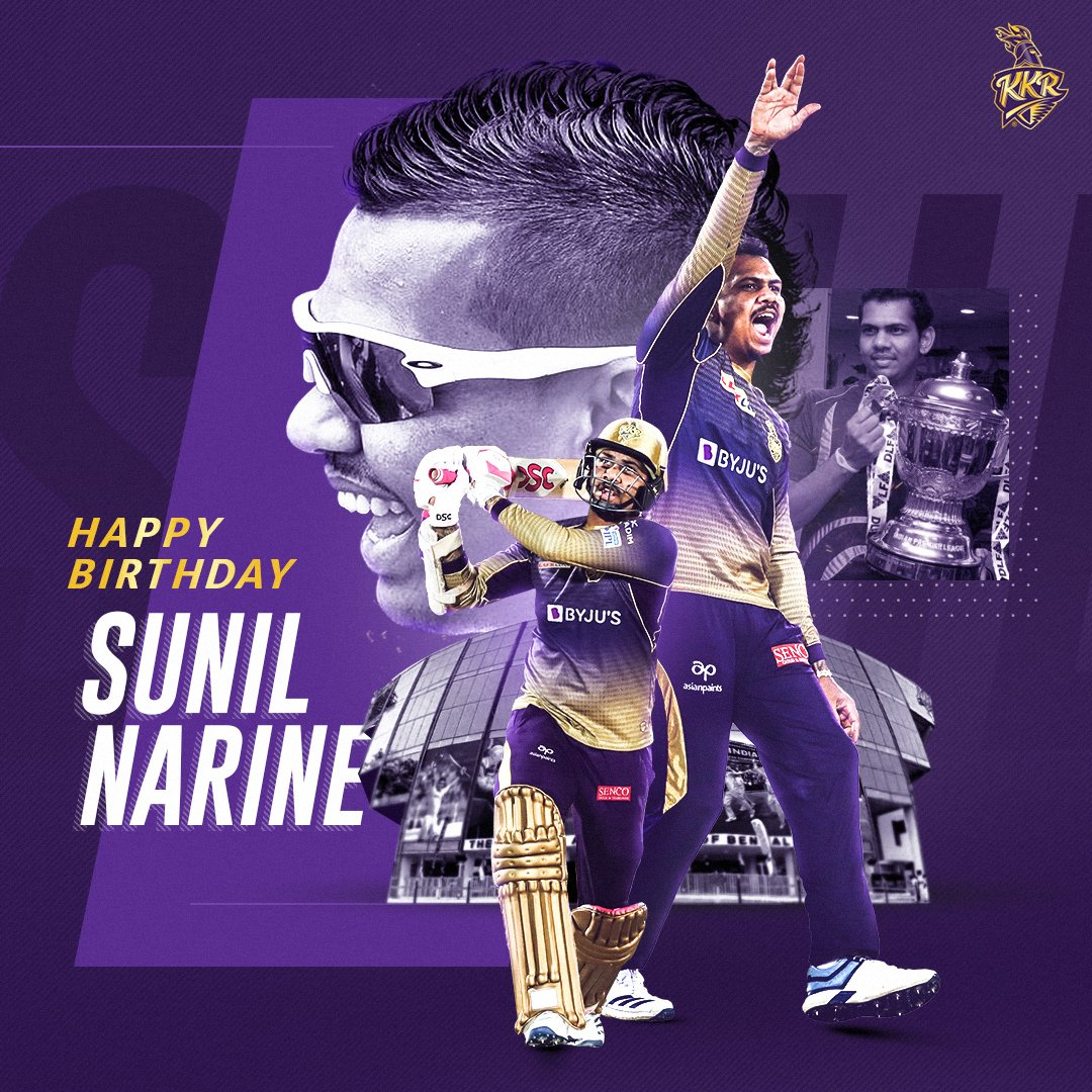 First & only bowler in the history of T-20 to bowl a maiden in a super over. He smashed joint-second fastest fifty in IPL(15 balls).  The third-highest wicket-taker for West Indies in T20Is.  First overseas player to take 100 wickets in the IPL history #HappyBirthdaySunilNarine <br>http://pic.twitter.com/tZlkLnWZBG
