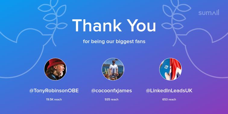 Our biggest fans this week: TonyRobinsonOBE, cocoonfxjames, LinkedInLeadsUK. Thank you! via https://t.co/58T6IsmspL https://t.co/JCGE2Tqgak