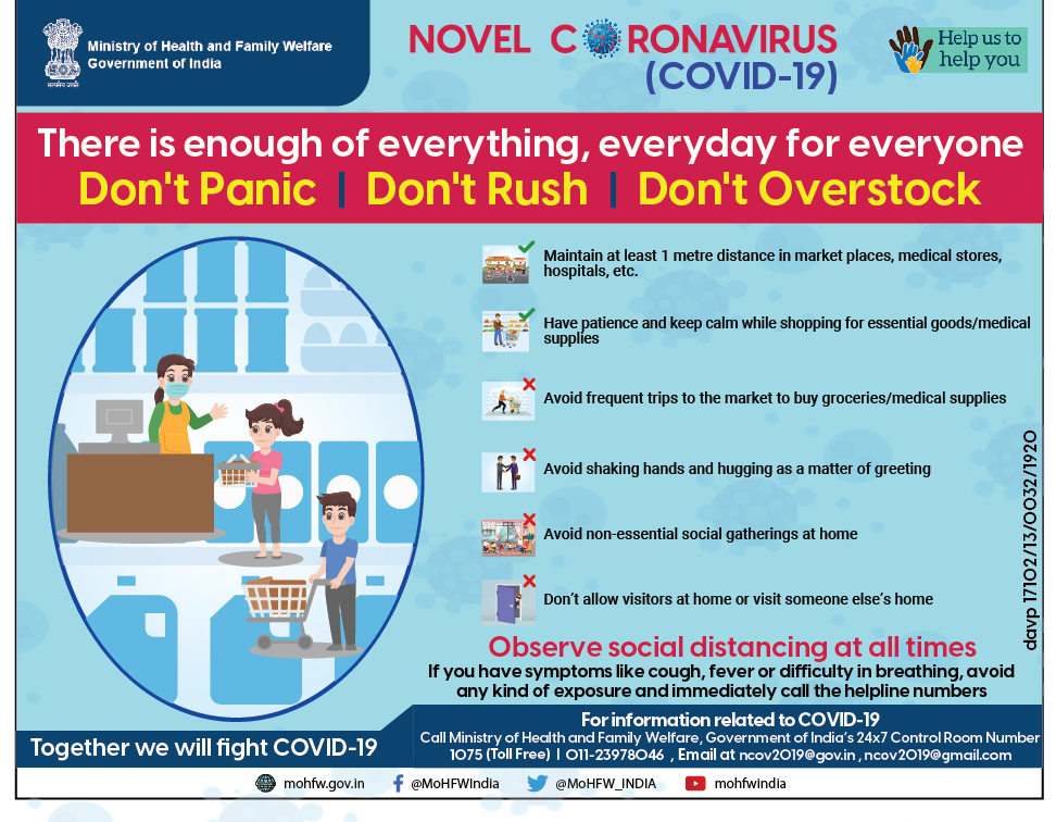Maintain #SocialDistancing and avoid crowding and over-populated places.  #Covid19 #SwasthaBharat #sayyes2precautions #MoDAgainstCorona #StayHomeIndia #IndiaFightsCoronapic.twitter.com/yLm3Qumlzj