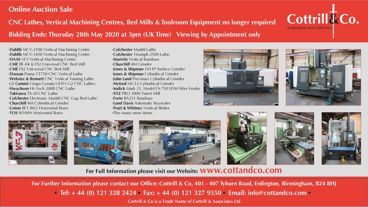 📆 Online #Auction Sale - 28 May 2020 - CNC Lathes, Vertical Machining Centres, Bed Mills & Toolroom Equipment no longer required #cnc #UKmfg #EngineeringUK #usedmachines #ManufacturingUK #manufacturing #engineering  Link to Auction: