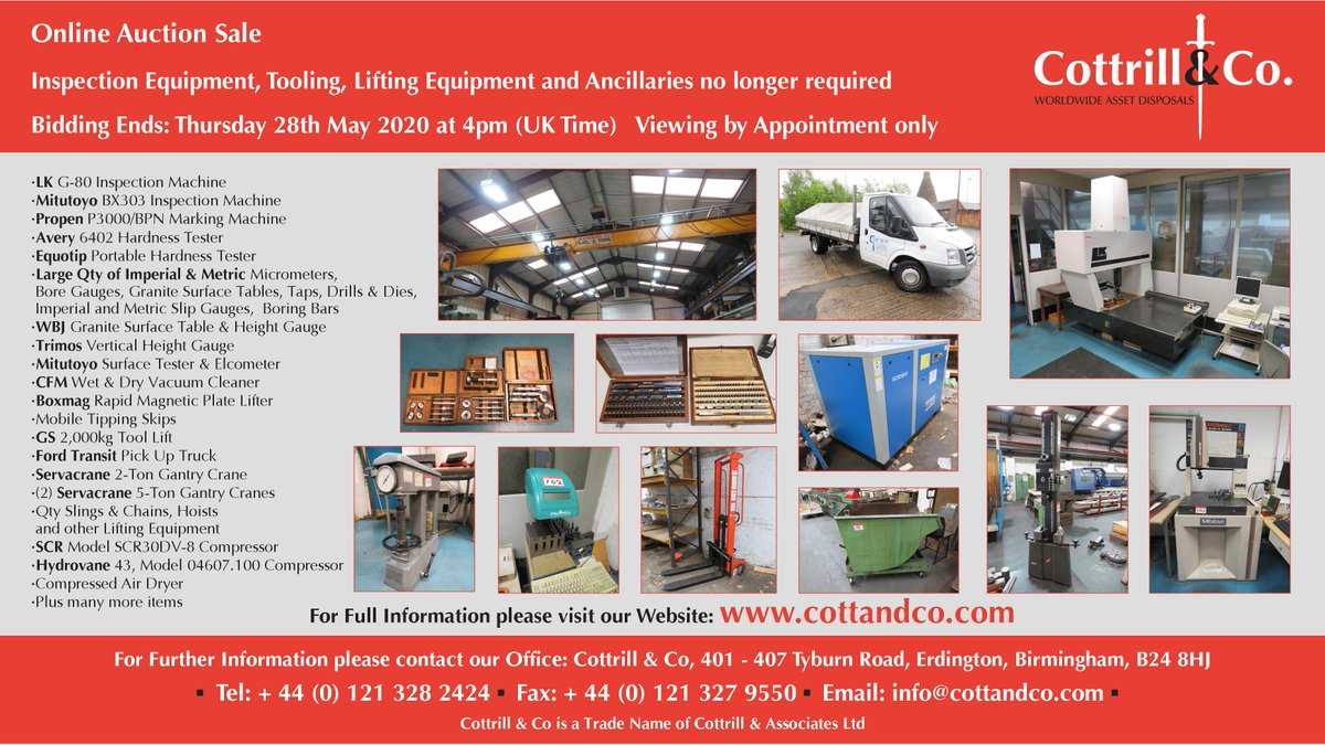 📆 Online #Auction Sale - 28 May 2020 - Inspection Equipment, Tooling, Lifting Equipment and Ancillaries no longer required #cnc #UKmfg #EngineeringUK #usedmachines #ManufacturingUK #manufacturing #engineering  Link to Auction: