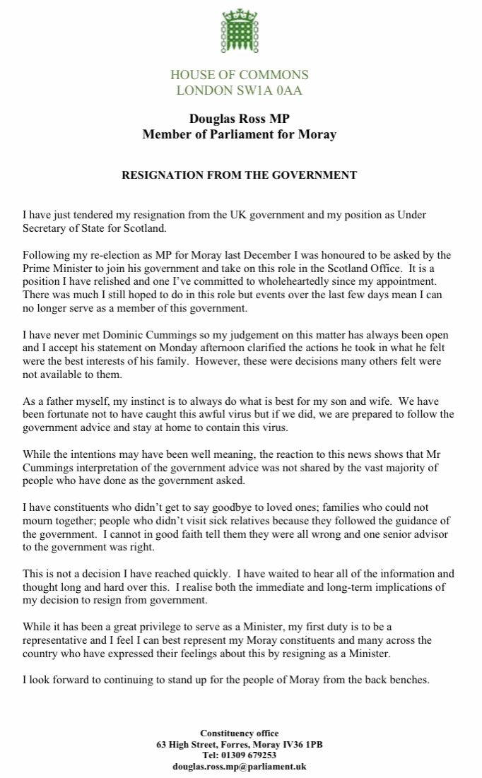 I havent commented publicly on the situation with Dominic Cummings as I have waited to hear the full details. I welcome the statement to clarify matters, but there remains aspects of the explanation which I have trouble with. As a result I have resigned as a government Minister.